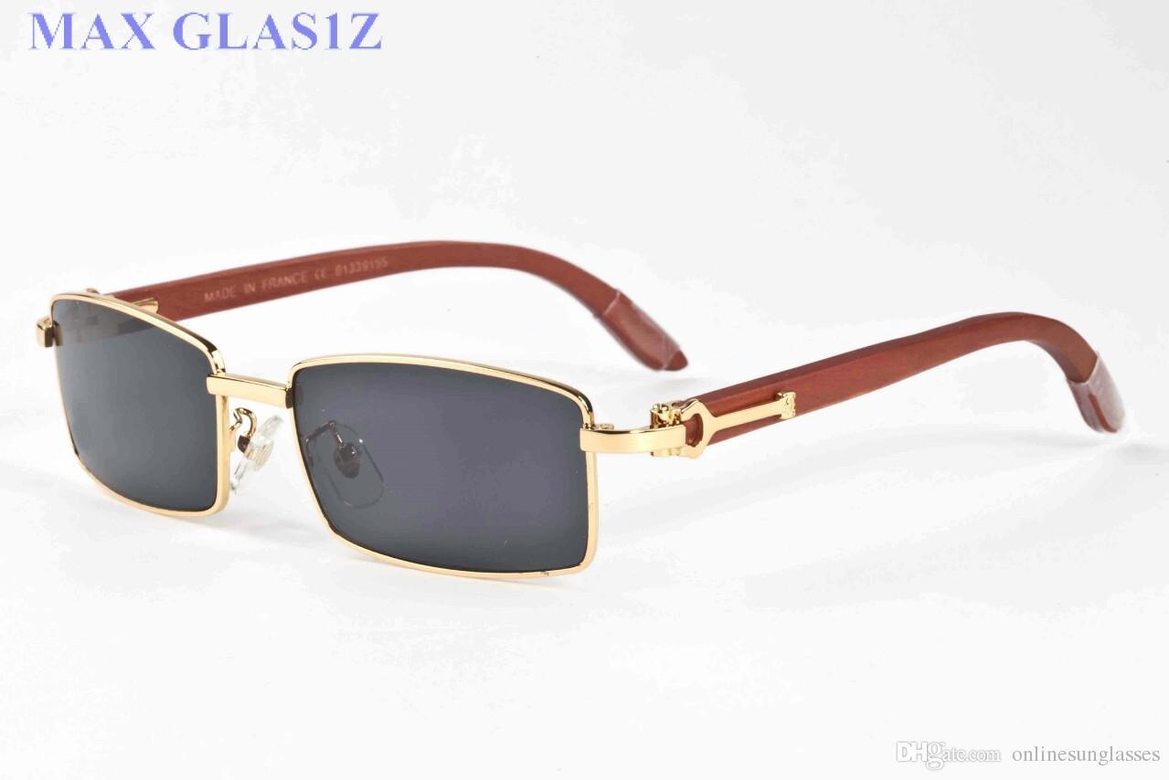 full rimless luxury sun glasses buffalo horn glasses men women sunglasses for brand designer best quality clear lens with Box