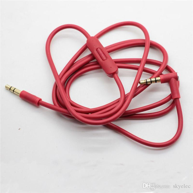Headphone Cable Automotive hands free headphone line Newest Replacement red Cables Wire Colors Control Talk MIC Extension Audio AUX Cord