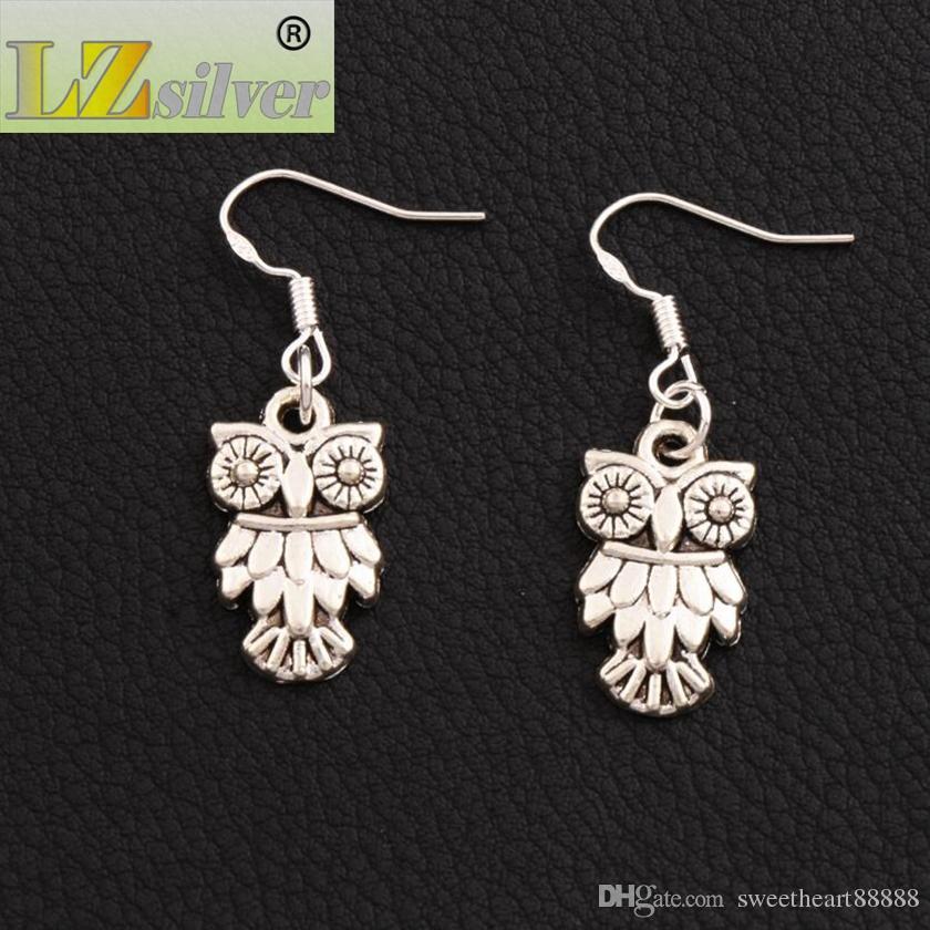 Owl Bird Earrings 925 Silver Fish Ear Ewitch E991 / Antique Silver Dangle Chandelier 11x36mm