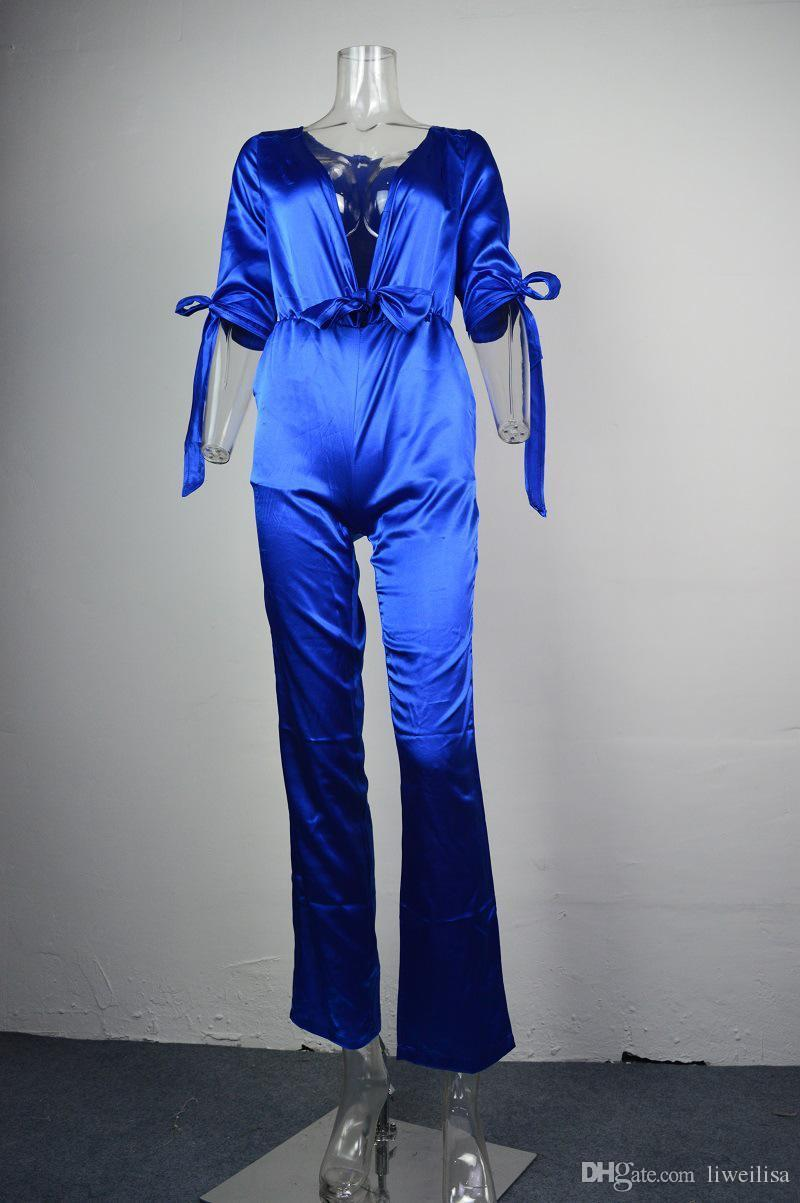 Womens New Sexy Deep V Neck Jumpsuit With Bow Female 3/4 Sleeve Poplin Bodycon Blue Club Rompers Bodysuit 2017 Spring SD191