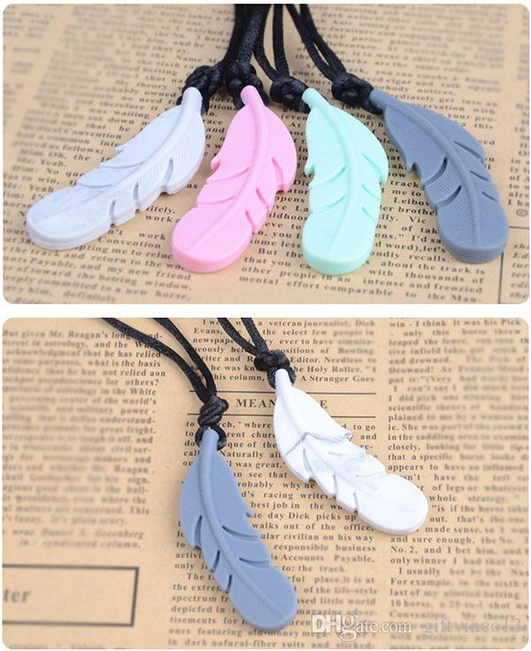 New Fashion Silicone Feather Teethers BPA Free Baby Silicone Teething Beads Feather Pendant Necklace Baby Chewable Nursing Jewelry Wholesale