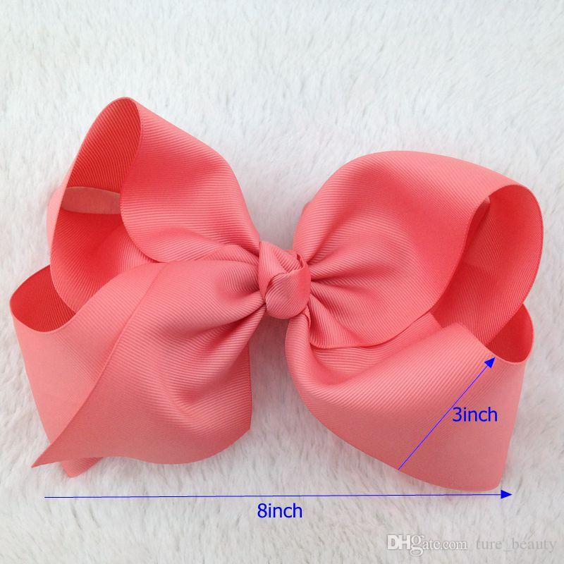 8inch High Quality Boutique Ribbon Hair Ribbon Bows with Elastic Rubber Band for Hairband for Kids Hair Accessories