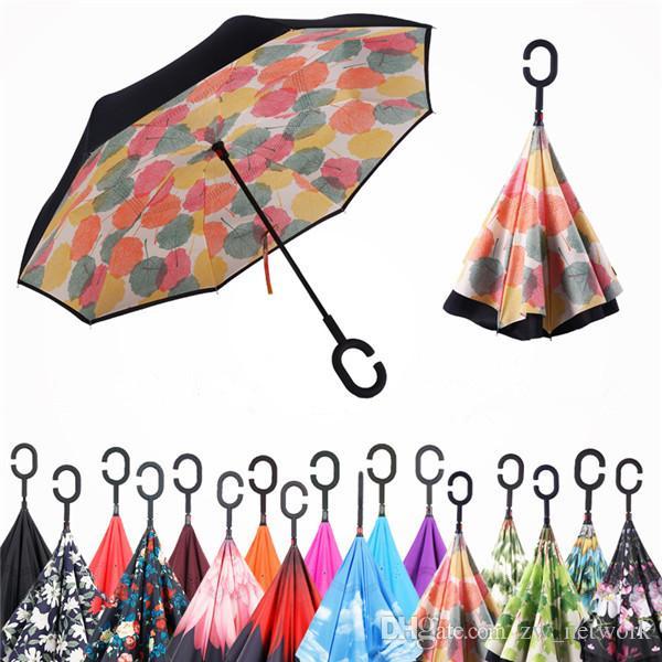 Winddichtes Inverted Regenschirm Folding Double-Layer-Reverse-Regen Sonnenschirme Inside Out Selbst Stehen bumbershoot mit C Griff 30styles