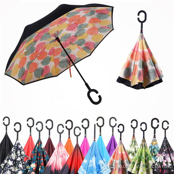Windproof Inverted Umbrella Folding Double Layer Reverse Rain Sun Umbrellas Inside Out Self Stand bumbershoot with C Handle 30styles
