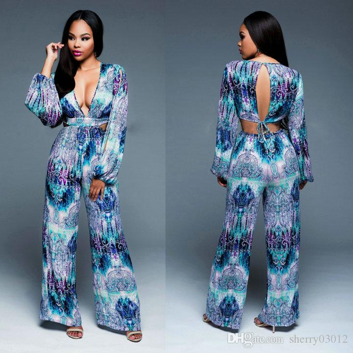 a619e458b0a 2019 Fashion Floral Print Loose Jumpsuits Sexy Deep V Neck Rompers Long  Sleeve Wide Leg Pants Bandage Jumpsuit Women Casual Cut Out Fit Playsuits  From ...