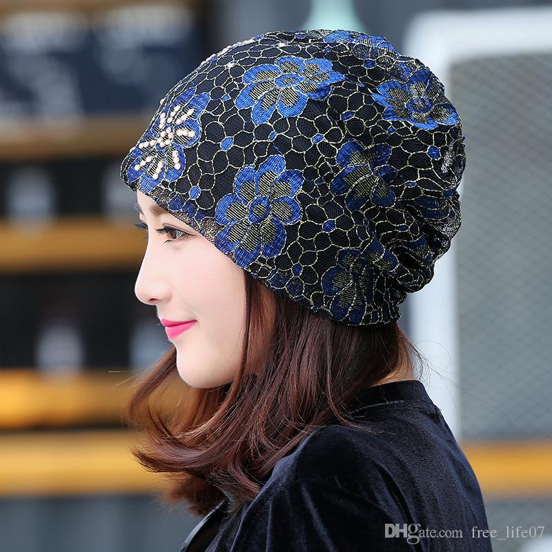 Flower Knitted Hats Women Rhinestones Lace Turban Hat Female Autumn