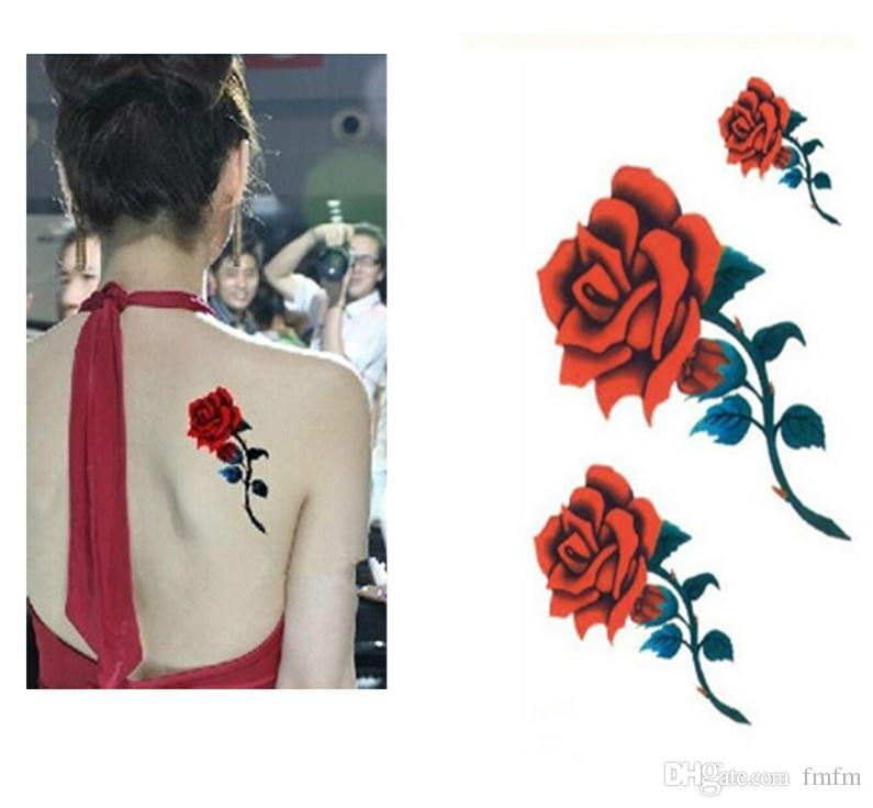 Sexy Red Roses Waterproof Design Women Rose Character Tattoo Paste