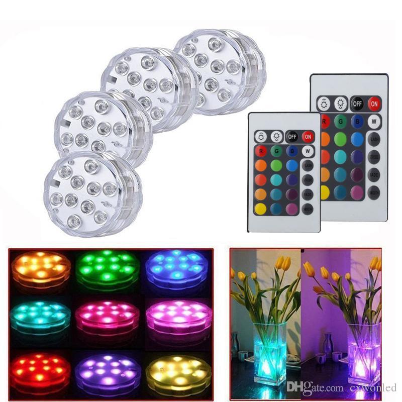 주도 방수 수중 라이트 10 LED RGB 고휘도 장식 램프 수중 색상 원격 제어와 조명 AA 배터리 변경