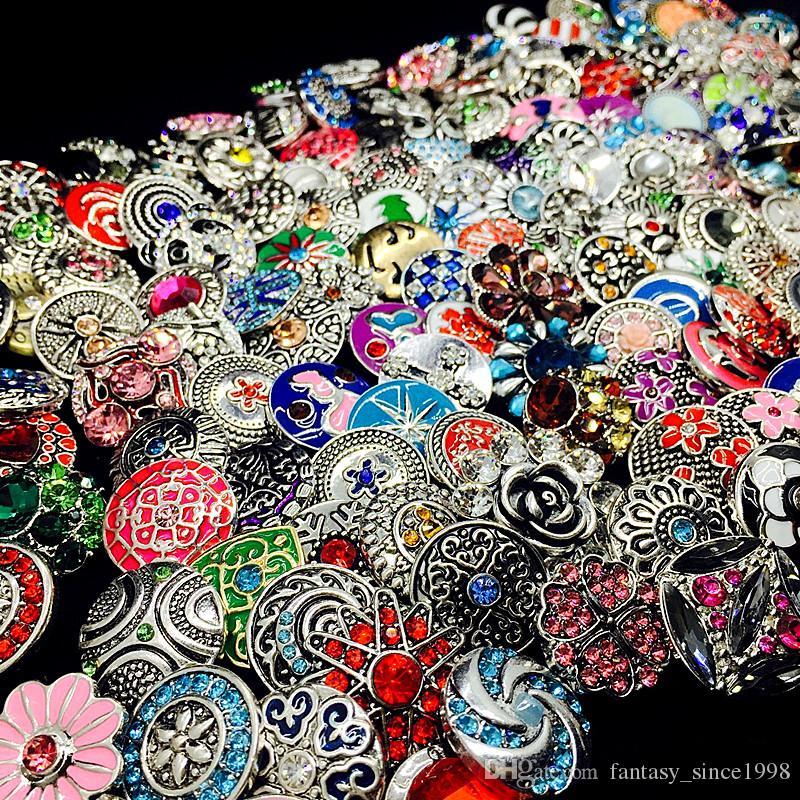 En gros en vrac mélanger les styles de la mode de gingembre 18mm métal strass s'enclenche bouton Snap bijoux neuf