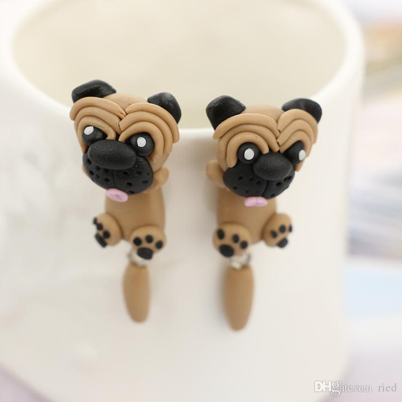 Netter Haibi Dog Design Hängende Ohrringe Handmade Polymer Clay Piercing Hippie-Tropfen-Ohrring für Frauen-Mädchen-Partei Schmuck Bijoux
