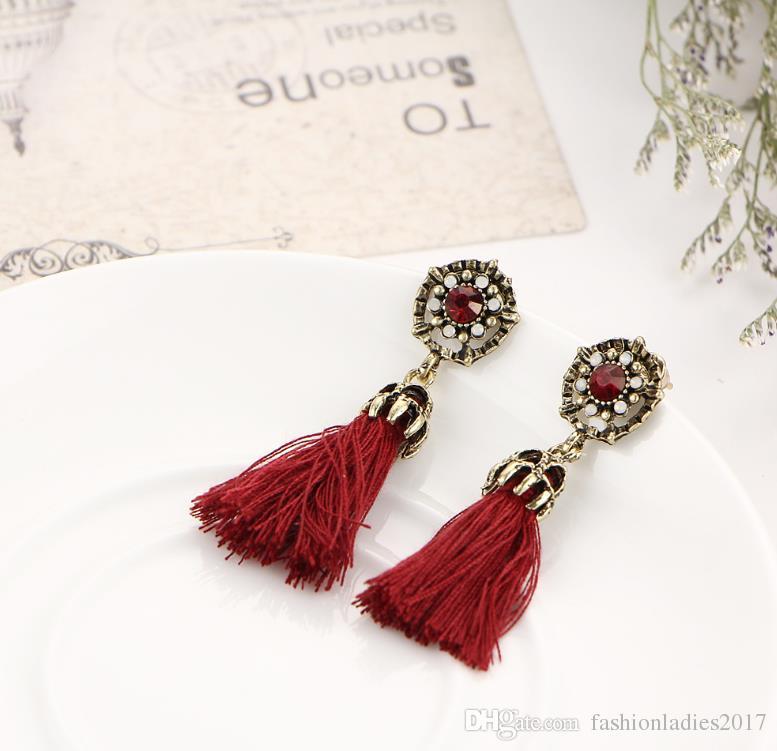 Boho Rope Tassel Earrings Vintage oro ciondola gli orecchini le donne ragazze etniche gioielli bohemien S442