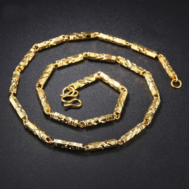 13a38b01918f Compre Cadenas De Oro De Lujo Para Hombre Collares 18k Chapado En Oro  Collar De Acero Inoxidable De Joyería Para Hombre Estilo Clásico De La  Cadena De ...