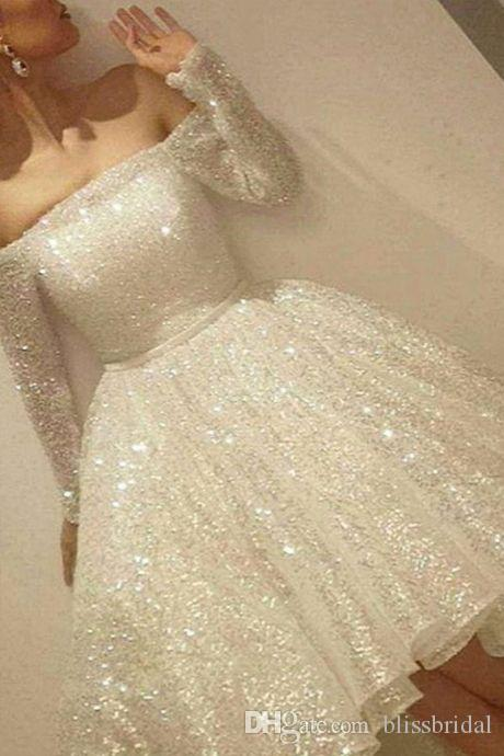 New Arrival White Shine Short Homecoming Dresses Sequins Off The Shoulder Long Sleeve Party Dress Thin Ribbon A-Line Cocktail Dress