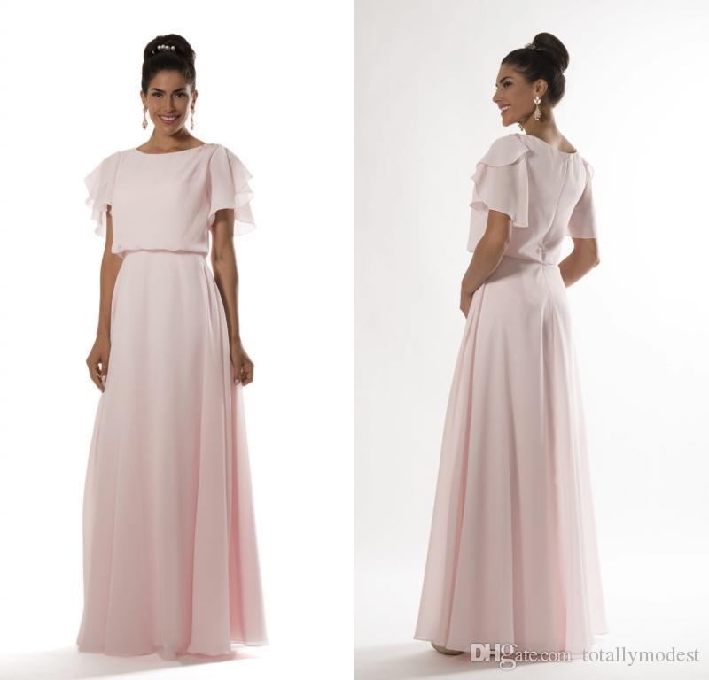 Light Pink Long Modest Bridesmaid Dresses 2017 With Flutter Sleeves A-line  Floor Length Formal Evening Women Wedding Party Dress Custom Made