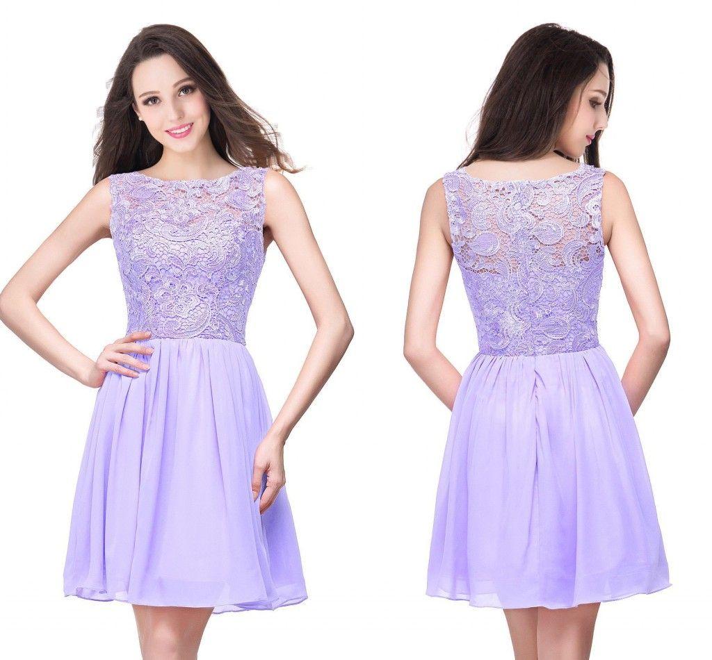 lavender knee length ball gown