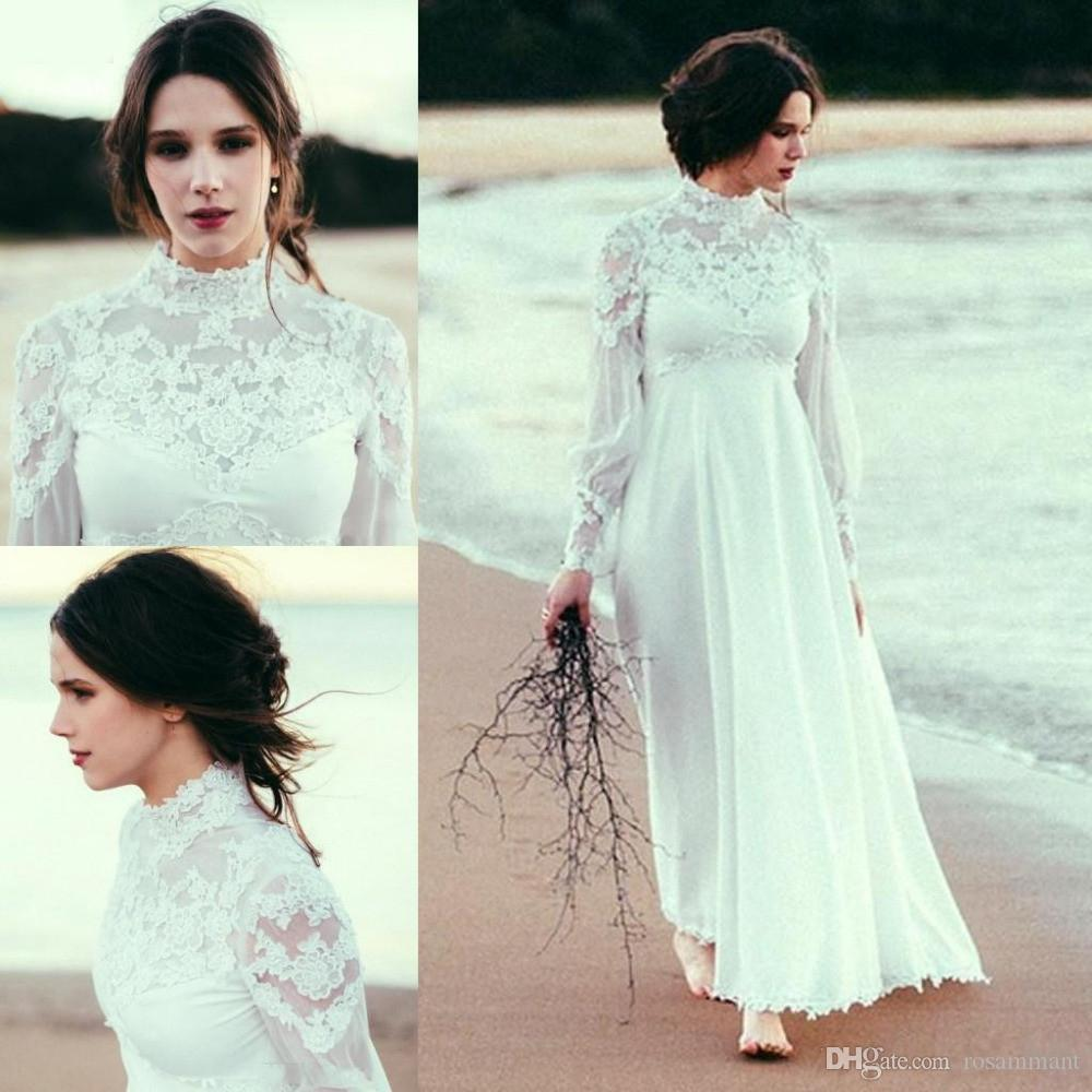 Lace High Neck Wedding Dresses 2019 Sheer Long Sleeves Modest Maternity Bohemian Beach Bridal Gowns High Waist Chiffon Simple Plus Size New