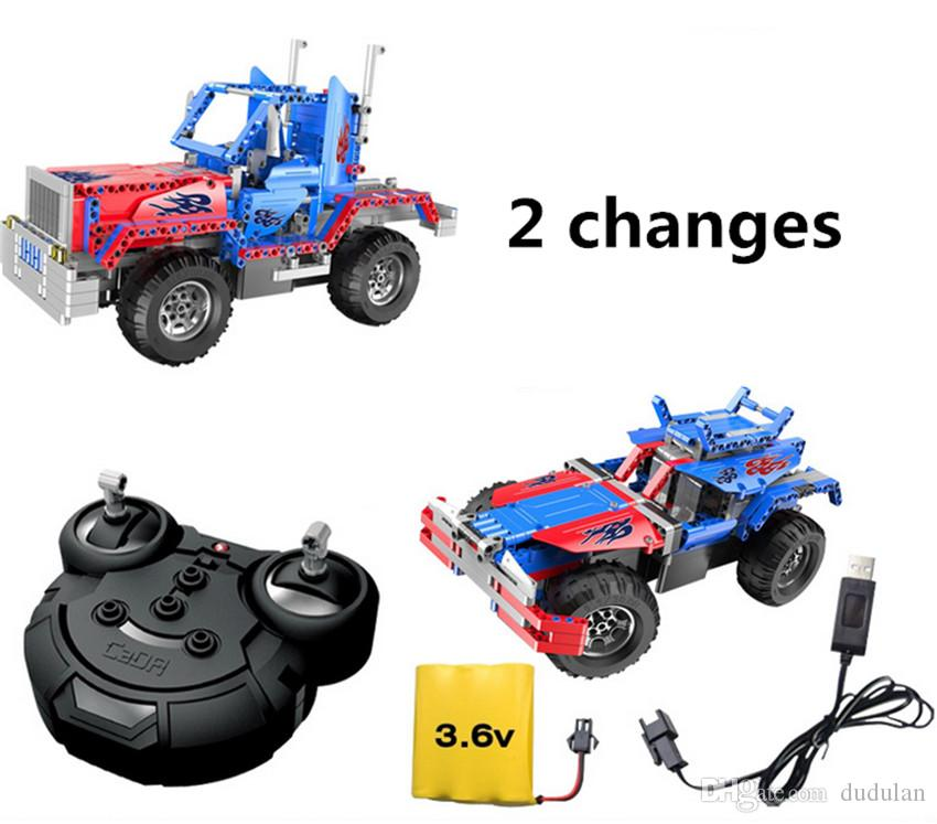 2 changes Hummer RC Truck Car Building Blocks Charging Remote Control Toys for Boys Kids Educational Building Toy Gift Bricks