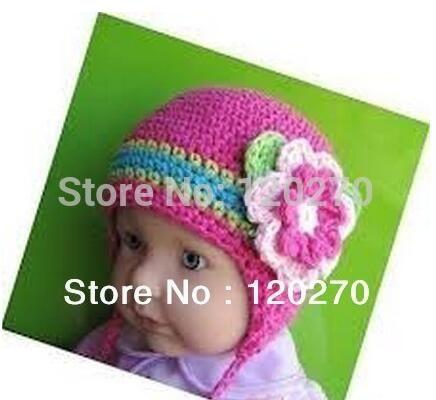 1e2fb3e3c94 2019 Crochet Rainbow Striped Floral Hat Newborn Toddler Infant Kids Winter  Christmas Cap Baby Girls Princess Children Beanie Earflaps 100% Cotton From  ...