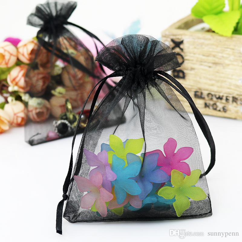 7x9cm Black Plain Gift Packaging Bags For Jewelry Candy Toys Tea Soap Packaging Display Drawable Pouches