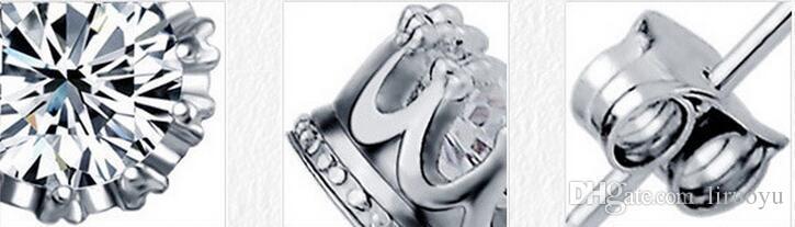 Fabrika fiyat Satış 8mm CZ Elmas 925 Ayar Gümüş Küpe Kadın Erkek Takı Serin Erkekler için Damızlık Küpe Vintage Kadınlar Küpe Çiftler