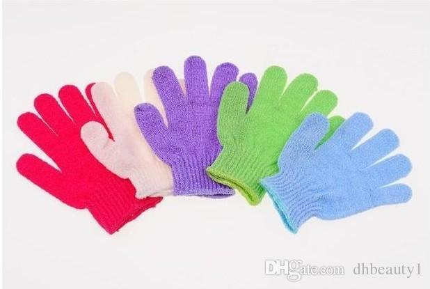 2017 NEUE Mitt Dusche Bad Handschuh Peeling Massage Körper Fünf Finger Wäscher Spong Bad Handschuhe SPA Schaum