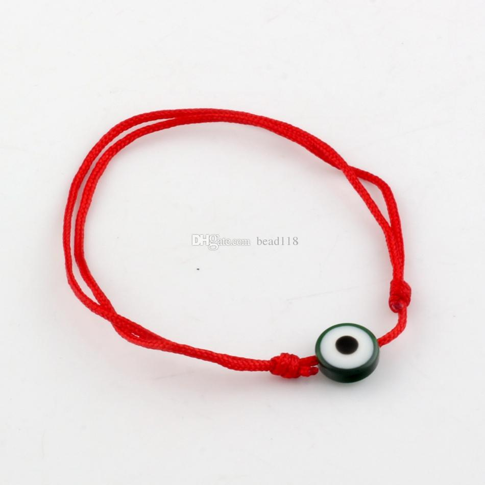 Hot ! Kabbalah Red String Bracelet mix color Resin Evil Eye Bead Red Protection Health Luck Happiness Bracelets B-35