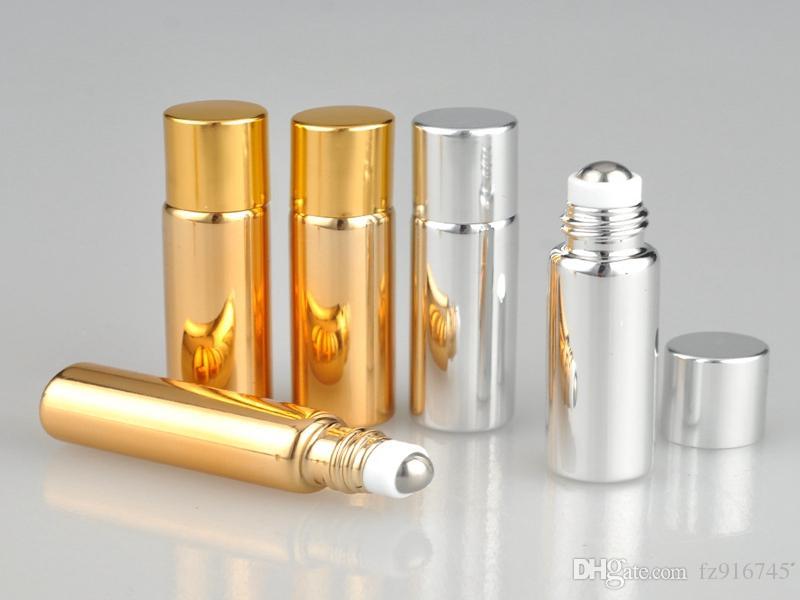 100 قطعة / الوحدة 5 ملليلتر uv فارغة زجاج زجاجة عطر مع المعادن الكرة لفة على زجاجات العطور زجاجات الأساسية الذهب والفضة اللون