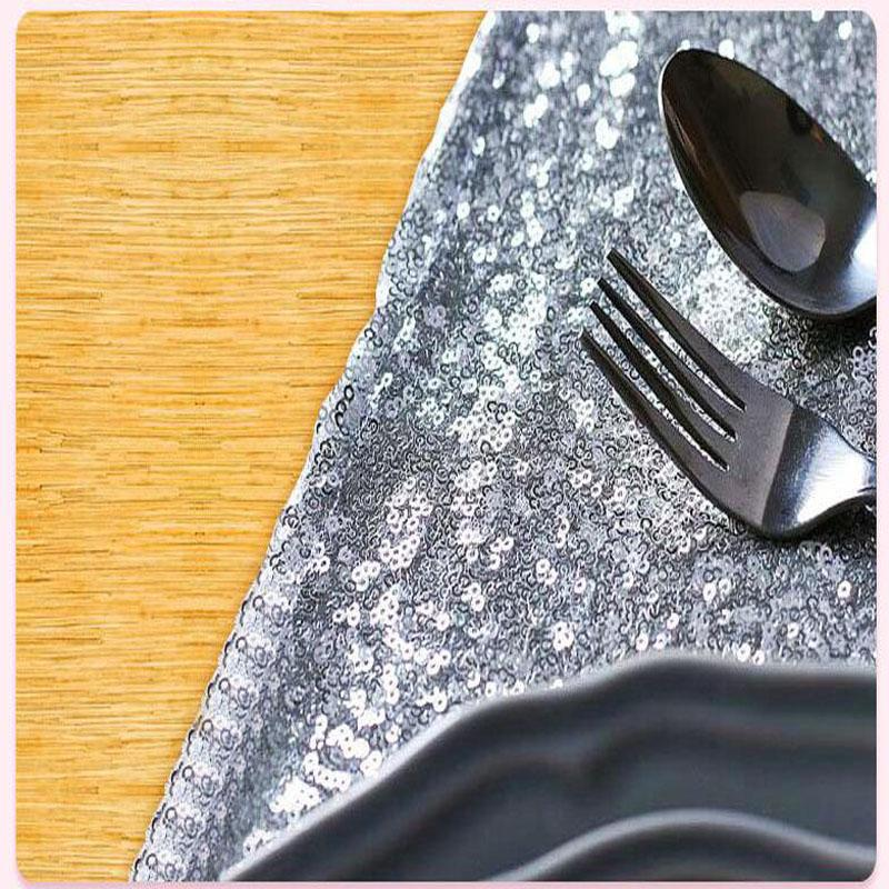 30*275cm Fabric Table Runner Gold Silver Sequin Table Cloth Sparkly Bling for Wedding Party Decoration Products Supplies