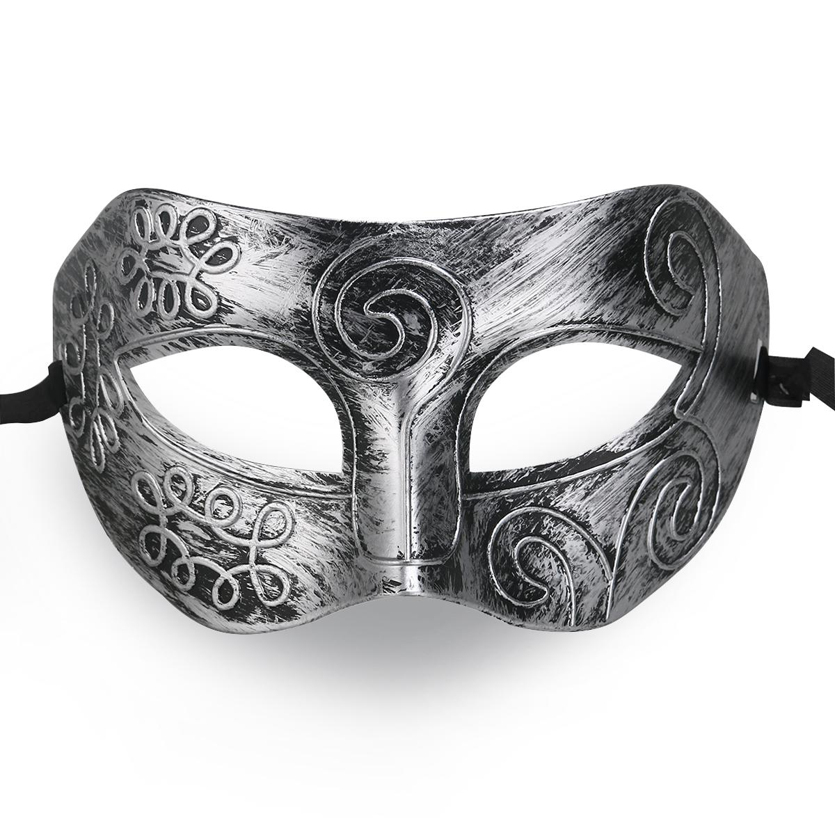 Wholesale- MUSEYA Cool Adult Men Greek Roman Fighter Masquerade Face Mask for Fancy Dress Ball / Masked Ball / Halloween (Silver)