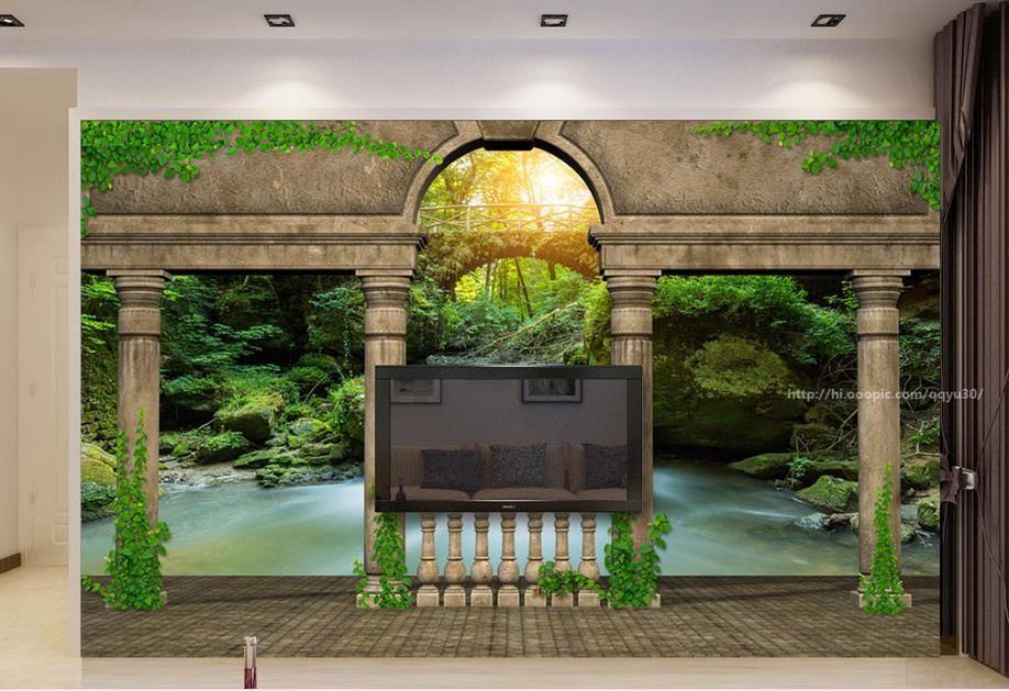 custom wallpaper for walls 3 d Retro castle scenery TV backdrop wallpapers for living room 3d mural wallpaper