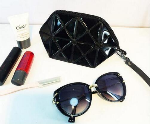 Organizador cosmético geométrico dos cosméticos do saco da composição do diamante do laser das mulheres do saco
