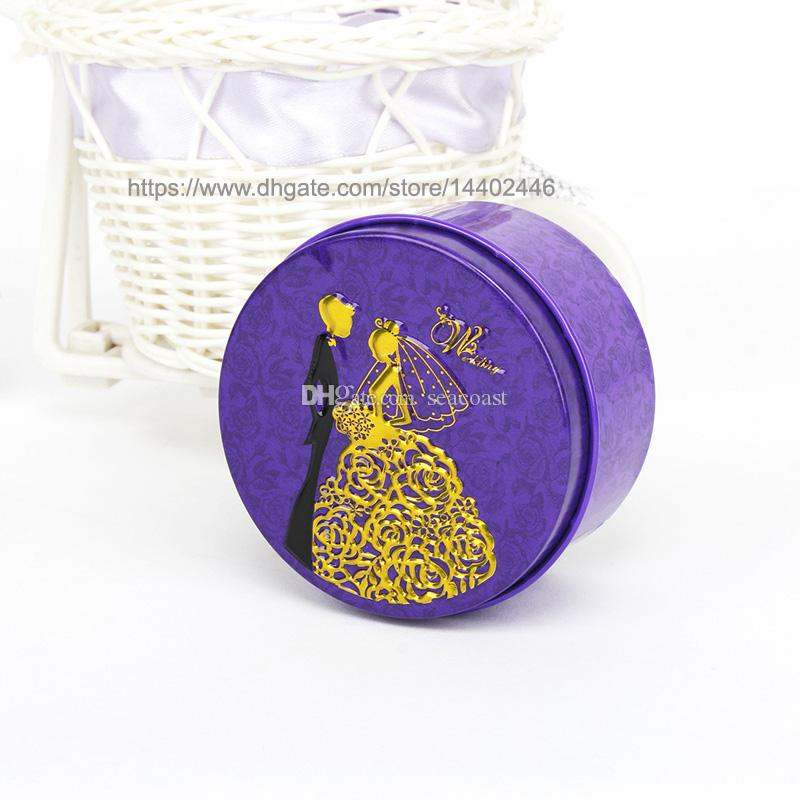 Round Shape Metal Tin Material Bride Groom Candy Box Wedding Favor Gift Favours Wedding Party