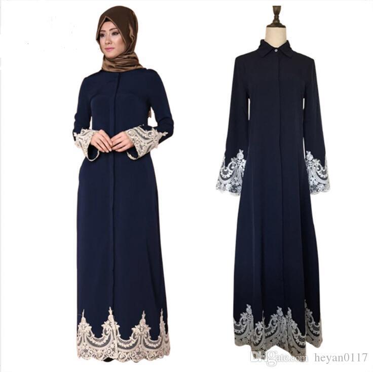 c066179d5 Compre Dubai Estilo Abaya Mujeres Largo Vestido Musulmán Cardigan Islámico  Jilbab Cóctel Vestidos Maxi Para Mujeres Niñas A  28.81 Del Heyan0117