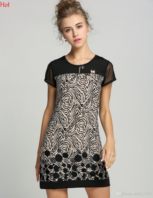 Korea S-XXXL Work Dresses For Women Wear 2015 Summer Short Sleeve Printed Plus Size Dress Vintage Casual Patchwork Ladies Office Dress 19511