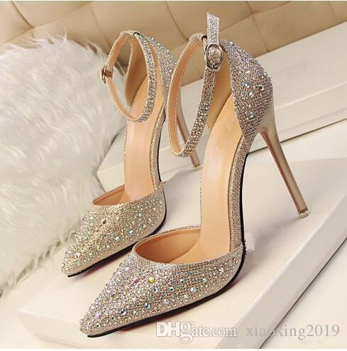 2017 Lady Gorgeous Nightclub Shoes 10,5cm tacchi alti Strass Ponited Toe Sandali Donna abito da sposa scarpe da sposa