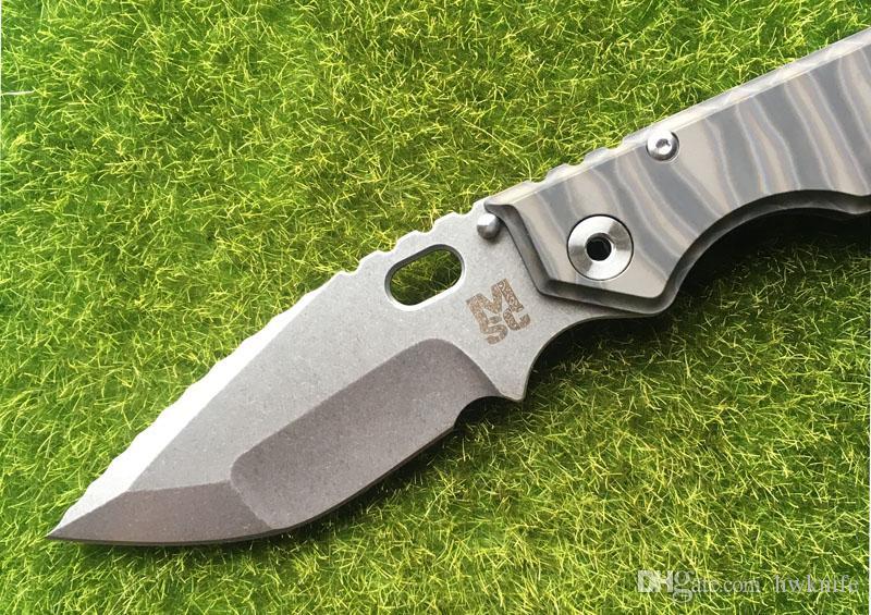 New Mick Strider Custom MSC XL Dragonspine Folding Knife S35VN Blade Fire texture Titanium Handle Tactical Survival Tools EDC