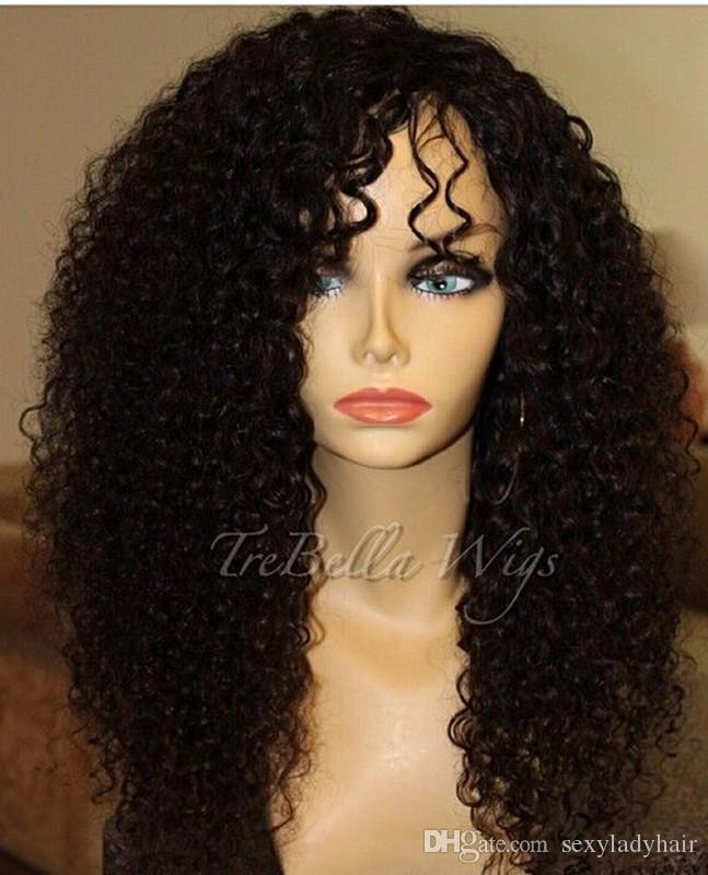 Ucuz Brezilyalı ön dantel peruk insan saçı kinky kıvırcık peruk siyah kadınlar için yan kısmı tam dantel peruk ağartılmış knot ücretsiz kargo