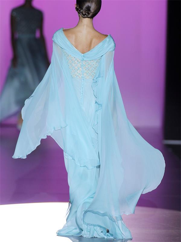 Cielo azul cielo azul gasa larga noche vestidos de manga larga con cuello plano plisado aplique de encaje con cuentas de alta calidad 2021 Haute Couture Custom Bats