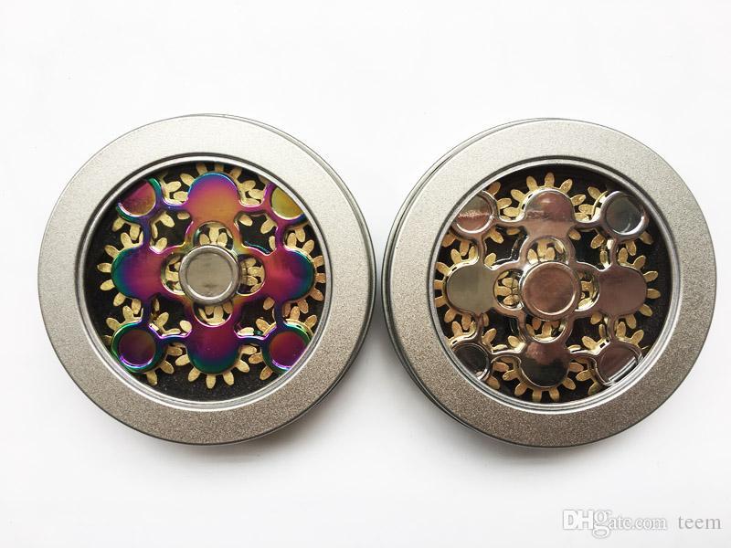 Nova chegada Fidget Spinners EDC metal Mão Spinner Brinquedos 9 Cadeia de Engrenagem Dedo Stress nove Engrenagens Rodas dedo Descompressão Brinquedo 100