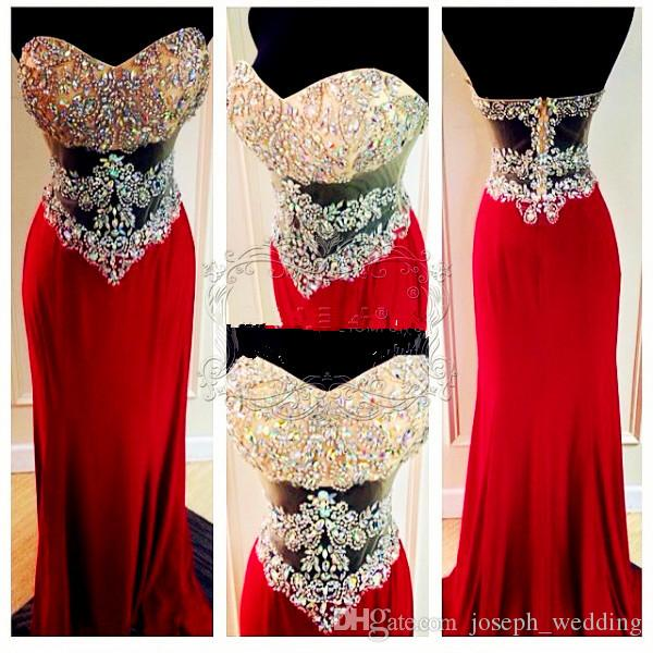Real Picture Amazing Crystal Beading Bodice Backless Sexy Prom Dresses Red Floor Length Mermaid Prom Evening Dress Custom Made