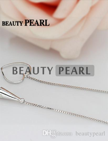 Sterling 925 Silver Box Chain Heart Pendant Mounting Necklace Jewellery Necklace Blank Settings for Pearls