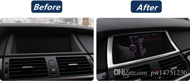Stainless steel navigation frame cover trim for BMW X5 X6 E70 E71 auto accessories interior modified strips