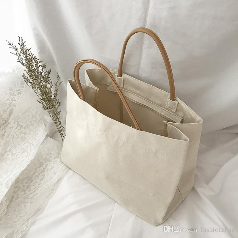 Bag Bags Large Plain Canvas Size Shoulder 16oz Cotton Tote wv8Nmn0