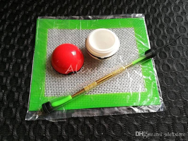 Silicone Wax Kit Set with sheets pads mats 6ml pokeball silicon container long gold silver ceramic dabber tool for dry herb jars dab