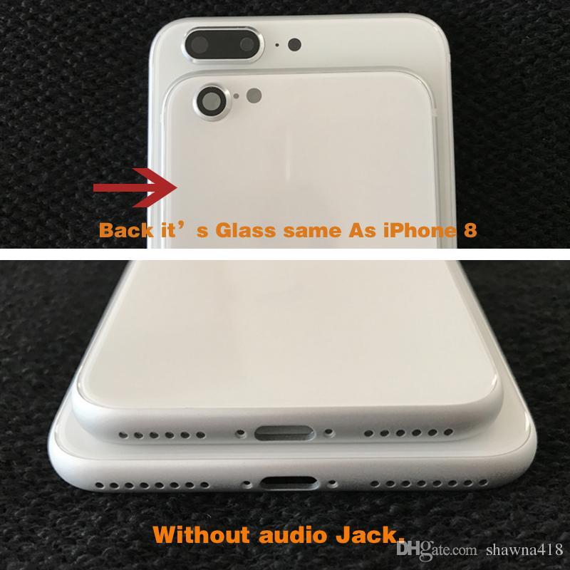 Para iphone 7 7 plus 6 6 s 6 plus 6 s plus para iphone 8 estilo voltar habitação moldura da tampa de alumínio de metal de vidro de substituição de volta como o iphone 8 plus
