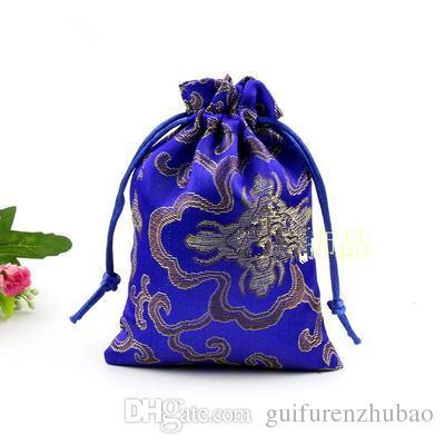 Preiswerter reicher Blumen-Beutel-kleiner Kordelzug-Silk Satin bauscht Schmuck-Schmucksache-Geschenk-Beutel-chinesischer verpackender Münzen-Beutel-Großverkauf /