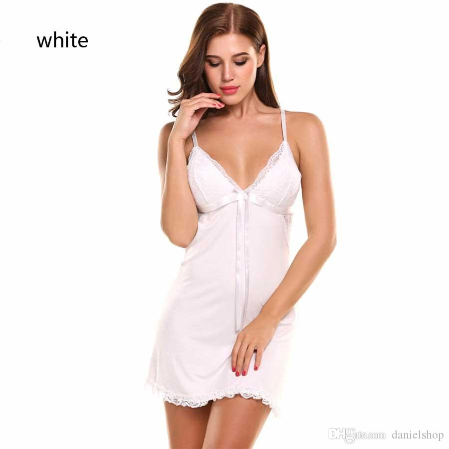 Summer Nightgown Lace Gown Full Slip Night Babydoll Women Lounge Dress Sexy Lingerie Hot Erotic Sex Costume Clothing Red