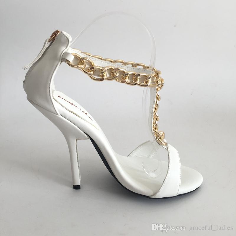 Branco T-alça de Sapatos de Casamento Sandália Dedo Aberto de Salto Alto Tornozelo Cadeia Sandálias de Verão Sapatos de Salto Alto Nupcial Plus Size EU34-46 Cores Personalizadas