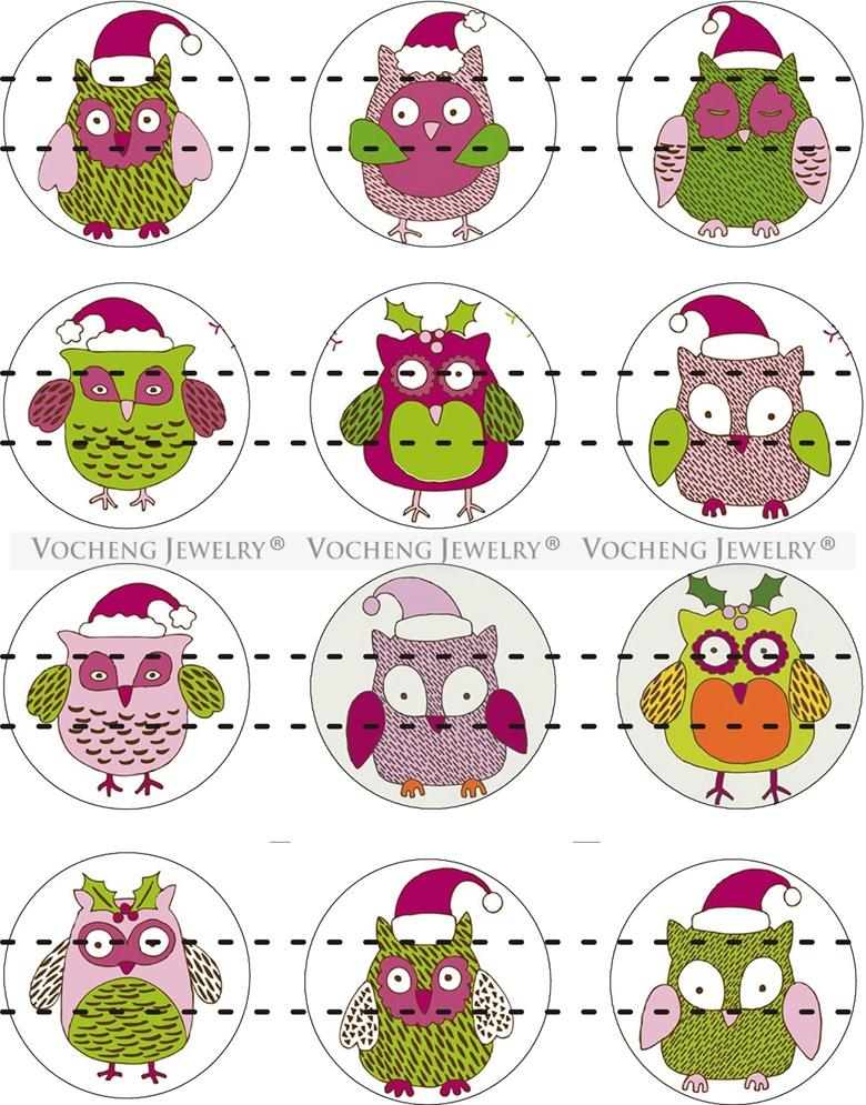 NOOSA Ginger Snap Jewelry Glass Snap Charms Button Lovely Owl Series 18mm Mixed Wholesale VOCHENG Vn-1818