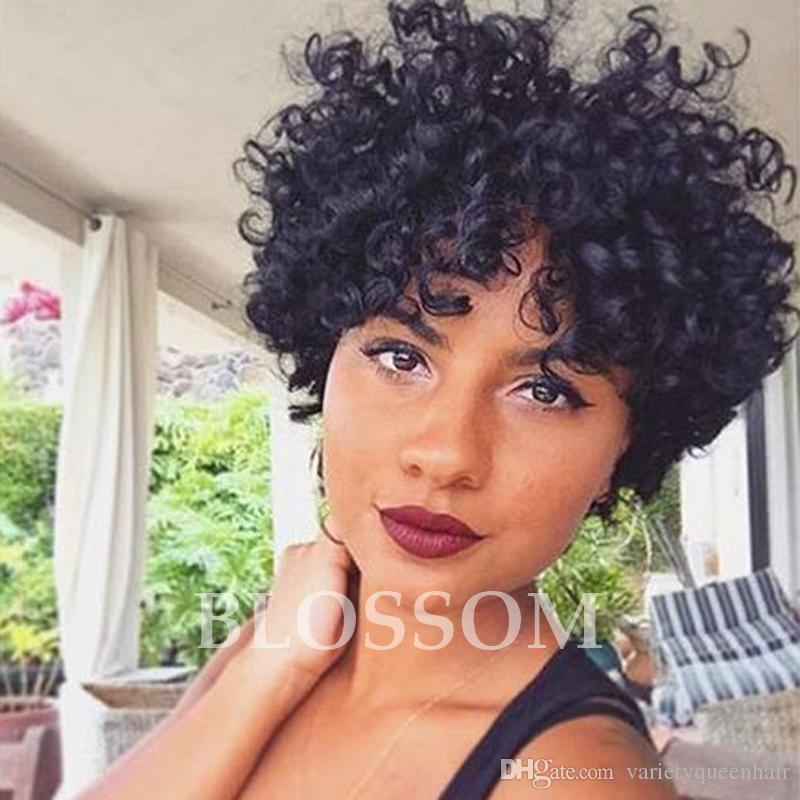 Afro Kinky Short Curly Lace Front Human Hair Wgs 100 Human Hair
